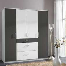Marino Wooden Wardrobe Large In White And Graphite With 4 Doors