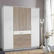 Marino Wooden Wardrobe Large In White And Oak Effect