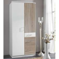 Marino Wooden Wardrobe In White And Oak Effect With 2 Doors