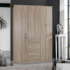 Marino Wardrobe In Oak Effect With 3 Doors And 3 Drawers