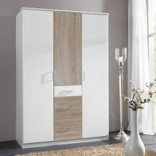 Marino Wardrobe In White And Oak Effect With 3 Doors