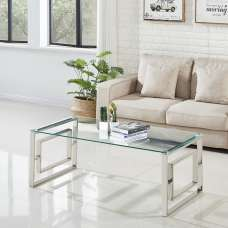 Mario Glass Coffee Table In Clear With Stainless Steel Frame