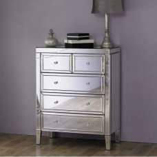 Marnie Contemporary Mirrored Chest Of Drawers With 5 Drawers