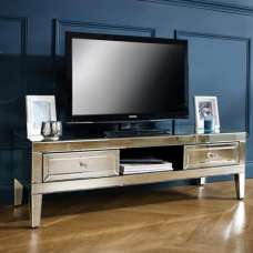 Marnie Mirrored Rectangular TV Stand With 2 Drawers