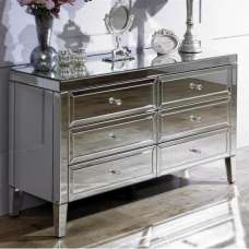 Marnie Mirrored Chest Of Drawers Wide With 6 Drawers