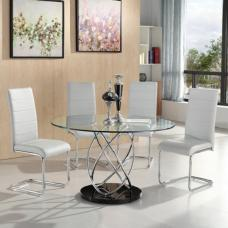 Marseille Glass Dining Table With 4 Daryl White Dining Chairs