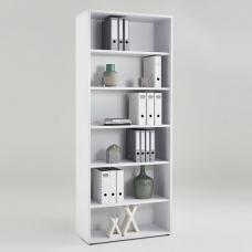 Marston Wooden Bookcase In White With 6 Open Compartments