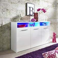 Martin Sideboard In White With Gloss Fronts And LED