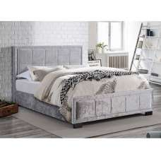 Masira Fabric Double Bed In Steel Crushed Velvet