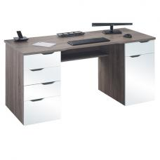 Mason Computer Desk In Truffle Oak And White High Gloss Fronts