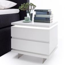 Matis Bedside Cabinet In White Gloss With 2 Drawers And LED