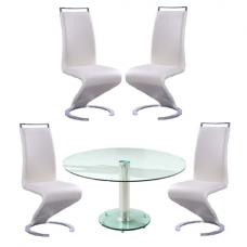 Maxi Glass Dining Table In Clear With 4 Summer Cream Chairs