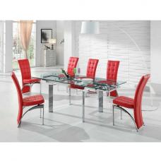 Maxim Extendable Glass Dining Set With 6 Ravenna Red Chairs