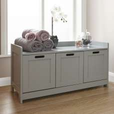Maxima Wooden Storage Bench In Grey With 3 Doors