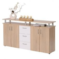 Maximo Sideboard In Oak And White With 4 Doors And 3 Drawers