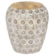 Maxine Moroccan Style Stool In Antique Wire Mesh
