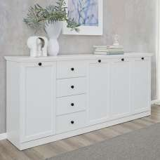 Median Wooden Sideboard Large In White With 4 Doors