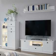 Median Wooden Living Room Set 1 In White With LED Lighting