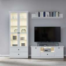 Median Wooden Living Room Set 2 In White With LED Lighting