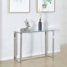 Megan Console Table Rectangular In Clear Glass With Chrome Base