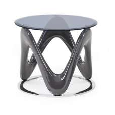 Melio Glass End Table With Grey Gloss And Polished Ring Base
