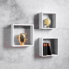 Melodia Modern Set of 3 Shelving Unit In White
