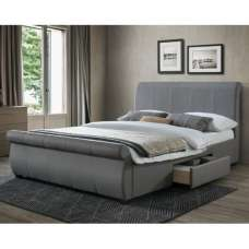 Melrose Fabric King Size Bed In Grey With 2 Drawers