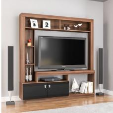 Melrose Entertainment Unit In Walnut And Black With 2 Doors