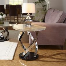 Melrose Lamp Table In Marble Effect Top With Chrome Base