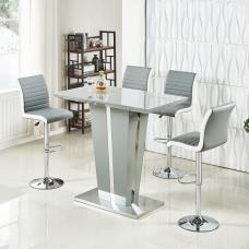 Memphis Glass Bar Table In High Gloss Grey And 4 Ritz Stools