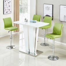 Memphis Glass Bar Table Gloss White 4 Ripple Lime Green Stools