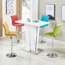 Memphis Glass Bar Table Gloss White 4 Ripple Multicolor Stools