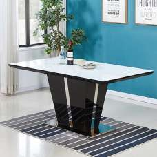 Memphis White Glass Dining Table In Gloss Black And Chrome Base