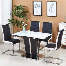 Memphis White Glass Dining Table Small With 4 Symphony Chairs