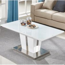 Memphis Coffee Table In White High Gloss With Glass Top