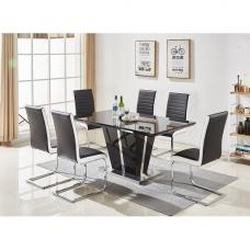 Memphis Glass Dining Table In Black And 6 Symphony Chairs