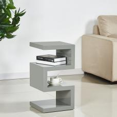 Trio Contemporary Side Table In Grey High Gloss