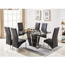 Memphis Glass Dining Table In Black Gloss With 6 Dining Chairs