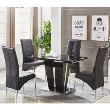 Memphis Glass Dining Table Small In Black With 4 Dining Chairs