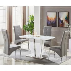 Memphis White Glass Small Dining Table With 4 Grey Chairs