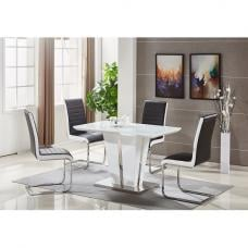 Memphis Glass Dining Table Small In White And 4 Symphony Chairs