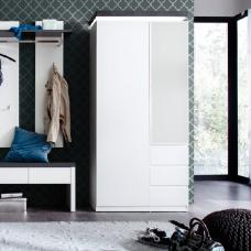 Mentis Hallway Wardrobe In Matt White And Concrete With LED