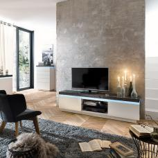 Mentis TV Stand With LED In Matt White And Concrete