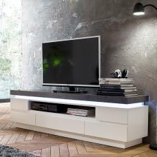 Mentis TV Stand In Matt White Concrete With 5 Drawers And LED