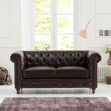 Mentor 2 Seater Sofa In Brown Leather With Dark Ash Legs