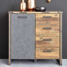 Merano Chest Of Drawers In Old Wood And Matera Grey With 1 Door