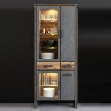 Merano Wooden Display Cabinet In Old Wood With LED Lighting