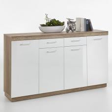 Mercia Wide Sideboard In Monument Oak And High Gloss White
