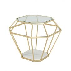 Merin Lamp Table In Clear Glass With Gold Frame