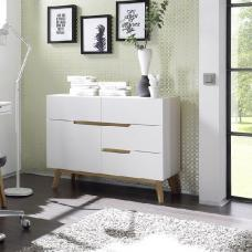 Merina Compact Sideboard In Matt White And Oak With 4 Drawers